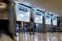 4 Sign or billboards located in shopping mall or retail shop. Useful for your advertising, with clipping path Royalty Free Stock Photo