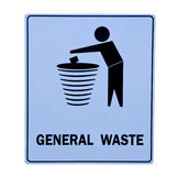 The Sign of bin for general waste. Isolated on white background Royalty Free Stock Photo