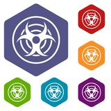 Sign of biological threat icons set hexagon Royalty Free Stock Photography