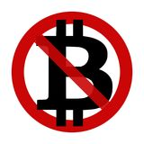 Sign: Bitcoin NOT accepted here. Illustration on a white background Royalty Free Stock Photo