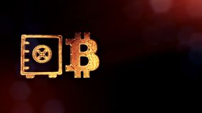 Sign of bitcoin and safe. Financial background made of glow particles as vitrtual hologram. Shiny 3D loop animation with