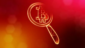 Sign of bitcoin under a magnifying glass. Financial background made of glow particles as vitrtual hologram. Shiny 3D