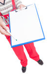 Sign blank papers on clipboard handing by mechanic Stock Photography