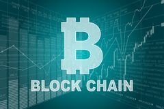 Block Chain and Stock Charts Royalty Free Stock Photography