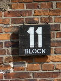 Sign block eleven on the barracks in the former concentration camp. Auschwitz Birkenau Stock Images