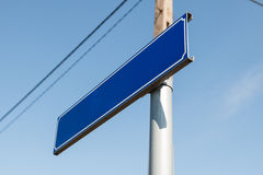Sign blue. Blank against the sky Stock Photography