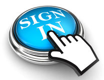 Sign in blue button and hand Stock Photos