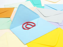 At sign in blue envelope Royalty Free Stock Image