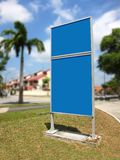 Sign board. Blank blue sign with copy space area Stock Image
