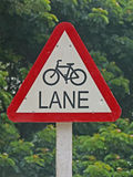 Sign Board. Indicating Bicycle Lane Royalty Free Stock Photos