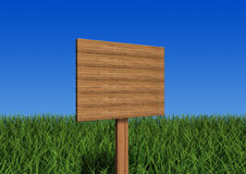 Sign board. 3d image-a wooden sign board Stock Photos
