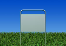 Sign board. 3d image-A metal sign board on lawn Royalty Free Stock Photo