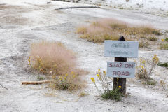 Sign board at Angel Terrace, Yellowstone National Park Stock Photo