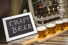 Sign board with beer samples at brewery Royalty Free Stock Photo