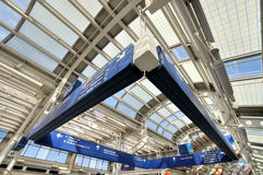 Sign board in Chicago airport. Sign board as special shape in Chicago International Airport inside, Photo took in October. 11th, 2014 Stock Image