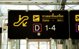 Sign board for departure gate Stock Images
