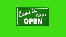 Sign board drop from top: come in we are open. Retail shop sign. Business animation. White sign on green. Board at ropes