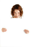 Sign board girl Royalty Free Stock Photos