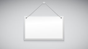 Sign board hanging on the white wall. Vector illustration Royalty Free Stock Photo