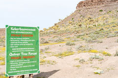 Sign board of the Quiver Tree Forest at Gannabos Stock Image