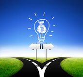 Sign board standing with money idea Stock Photography