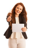 Sign board. Woman holding big white blank card. Positive emotion. Al portrait of happy girl with long hair Royalty Free Stock Photography