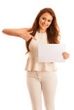 Sign board. Woman holding big white blank card. Positive emotion. Al portrait of happy girl with long hair Royalty Free Stock Images