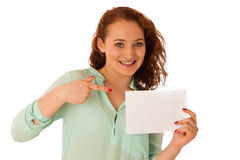 Sign board. Woman holding big white blank card. Positive emotion Royalty Free Stock Images
