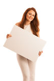 Sign board. Woman holding big white blank card. Positive emotion Royalty Free Stock Photos