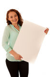 Sign board. Woman holding big white blank card. Positive emotion. Al portrait of happy girl with long hair Stock Images