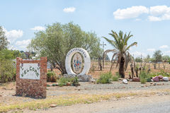 Sign boards at the entrance of Jagersfontein Stock Image