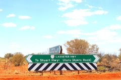 Signage to Stuart Highway and Uluru Ayers Rock, Australia. Signboards to the Stuart Highway and Uluru Ayers Rock at a road crossing on the Lasseter Highway and Royalty Free Stock Photo