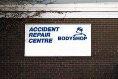 Sign of body shop, accident, repair center for vehicles or cars Royalty Free Stock Photography