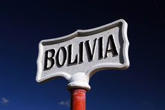 Sign at Bolivia border Royalty Free Stock Photo