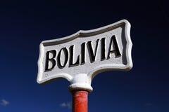 Sign at Bolivia border Royalty Free Stock Photo
