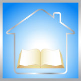 Sign with book, house and sunrise Royalty Free Stock Photos