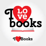 Sign with books and hearts about love to read. Modern flat  illustration with place for text. Layered file Royalty Free Stock Image