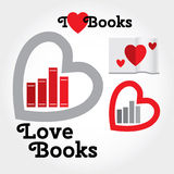 Sign with books and hearts about love to read. Modern flat  illustration with place for text. Layered file Royalty Free Stock Images