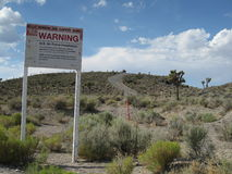 Sign at the border of Area 51 Stock Photos