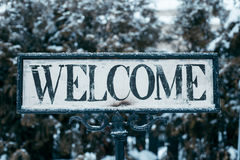 Sign in borders  that says welcome Stock Images