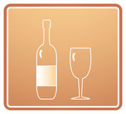 Sign with bottle and wineglass Stock Photography