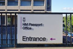 Sign for the British HM Passport Office Stock Images