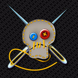 Sign of brutal tailor. Comic picture. Sign of brutal tailor with an embroidered skull and crossed needles Stock Photos