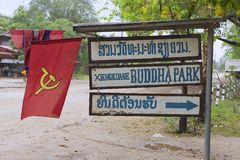 Sign of the Buddha park entrance at the road side in Vientiane, Laos. Stock Photos