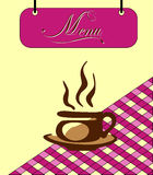 Sign burgundy menu cell with a cup of tea. Vector Stock Photo