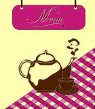 Sign burgundy menu cell with teapot. Vector Stock Image