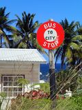 A sign bus stop overlooking the sea - Barbados stock photo