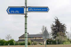 Sign for Business parks and cycle path Stock Images