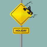 Sign of businessman icon jumping out of workplace. Holiday wording on road sign. Businessman relaxing. Stock Images
