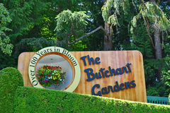 The sign of the butchart gardens stock photo